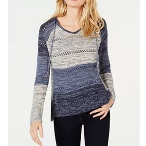 Sisters open knit and versatile hood sweat…